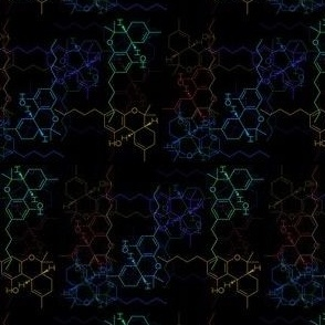 THC Molecule - Multicolor on Black - Cannabis Marijuana MMJ Pot Weed Chemistry