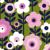 Marguerite* (Split Pea Soup) || vintage sheet mod 70s 60s flower floral leaves stem garden spring summer olive green pink pastel avocado