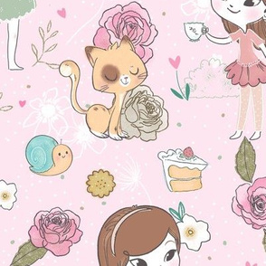 Tea Party - Larger Print - Pink