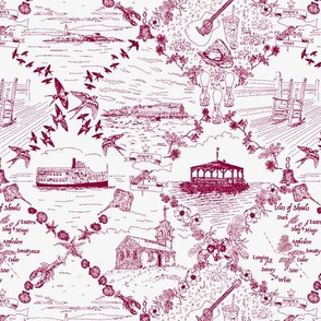 Star Island Toile (burgundy)
