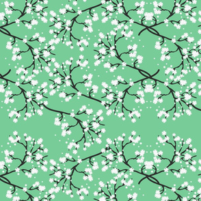 Snow White Blossom Lace - vintage jade green
