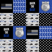 "(2"" small scale) Police Patchwork  - thin blue line - back the blue wholecloth C19BS"