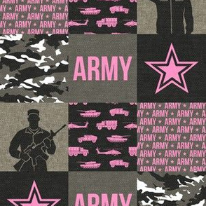 "(2"" small scale) Army - Patchwork fabric - Soldier Military -  pink  - LAD19BS"