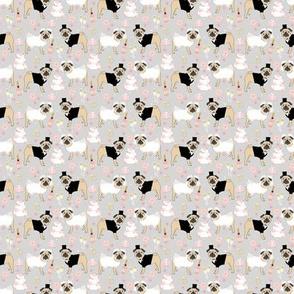 SMALL - pug wedding fabric // wedding dog, dog, dogs, wedding, pug weddings