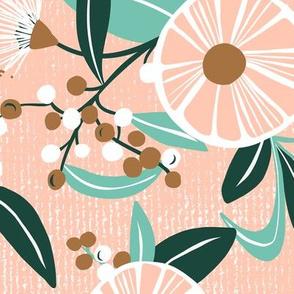 Madelyn - Pink Botanical Floral Large Scale
