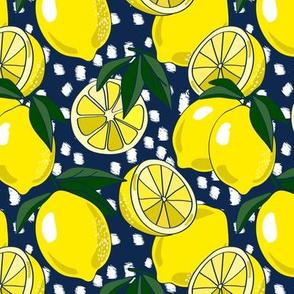 Allover Lemons on navy