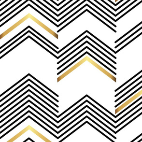 White & Gold chevron- Macro