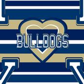 Yale University Bulldogs Blue Gold White Stripes  Heart Team School Colors
