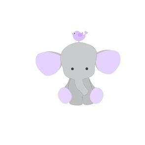 Safari Elephant Purple Lavender Bird