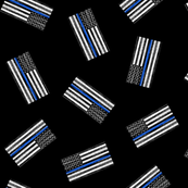 "(2"") Thin Blue Line - Back the Blue - American Flag - toss black - LAD19BS"