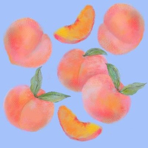 Peach on periwinkle