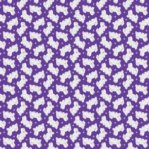 Tiny Trotting Coton de Tulear and paw prints - purple