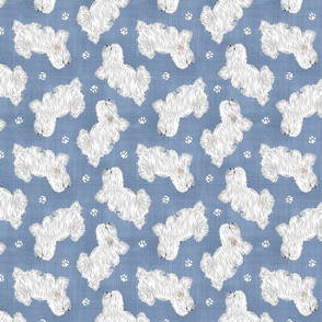 Trotting Coton de Tulear and paw prints - faux denim