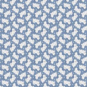 Tiny Trotting Coton de Tulear and paw prints - faux denim