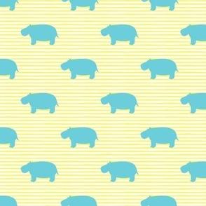 hippos - hippopotamus cute - blue on yellow stripes - LAD19