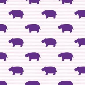 hippos - hippopotamus cute - purple on pink stripes - LAD19