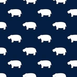 hippos - hippopotamus cute - navy - LAD19