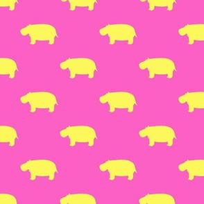 hippos - hippopotamus cute - yellow and pink - LAD19