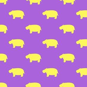 hippos - hippopotamus cute - yellow and purple - LAD19