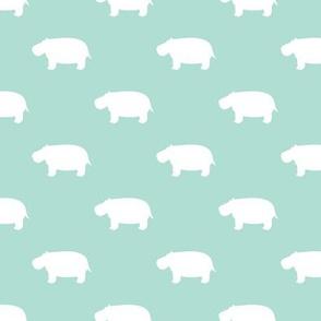 hippos - hippopotamus cute - aqua - LAD19