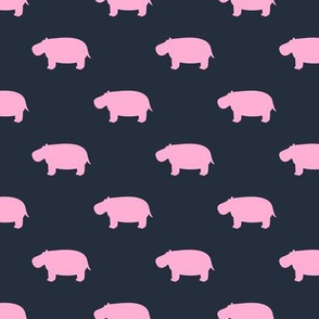 hippos - hippopotamus cute - pink on blue - LAD19