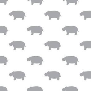 hippos - hippopotamus cute - grey - LAD19