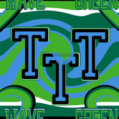 Tulane University Green Blue Black White Stripes Heart Wave Team School Colors