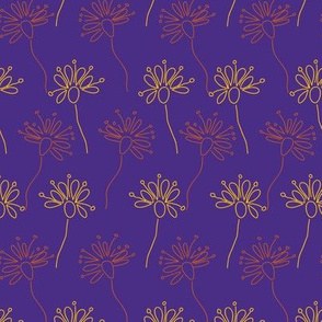 Stripes of Flowers on a purple background