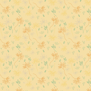 Floral Doodle on creamy yellow background