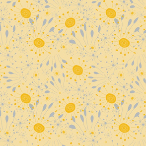 Abstract doodle with Bursts of Yellow and Gray