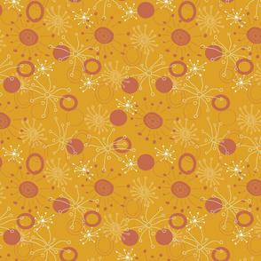 Orange starburst doodle