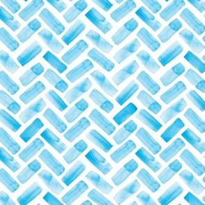 (small scale) watercolor herringbone (bright blue) LAD19