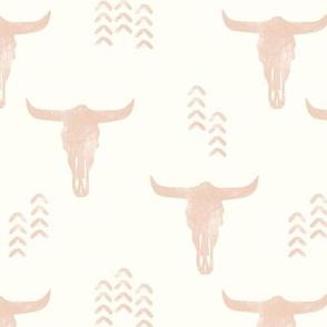 desert skulls - boho - southwest cow skull - blush on cream - LAD19