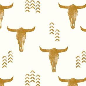 desert skulls - boho - southwest cow skull - gold on cream - LAD19