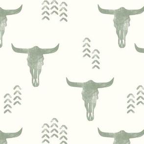 desert skulls - boho - southwest cow skull - sage on cream - LAD19