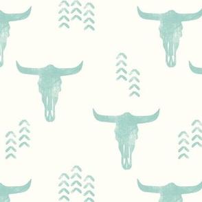 desert skulls - boho - southwest cow skull - mint on cream - LAD19