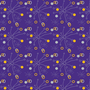 Doodle bursts with purple background