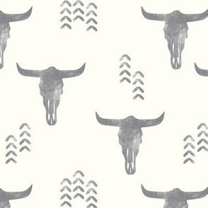 desert skulls - boho - southwest cow skull - grey on cream - LAD19