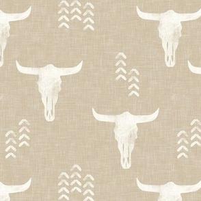 desert skulls - boho - southwest cow skull - tan - LAD19