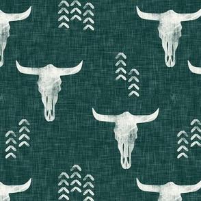desert skulls - boho - southwest cow skull - green - LAD19