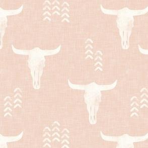 desert skulls - boho - southwest cow skull - blush - LAD19