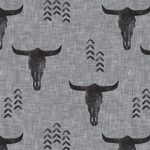 desert skulls - boho - southwest cow skull - grey on grey - LAD19