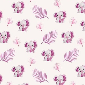 Little elephant friends adorable boho style kawaii nursery print summer pink girls