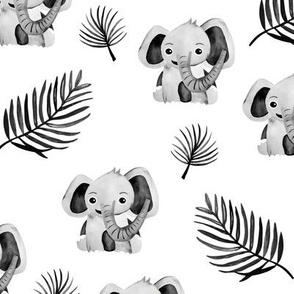 Little elephant friends adorable boho style kawaii nursery print winter monochrome black and white