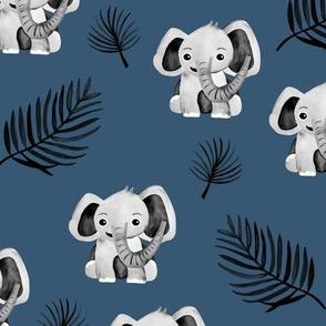Little elephant friends adorable boho style kawaii nursery print winter navy blue boys