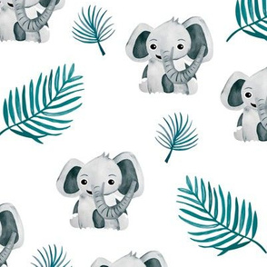 Little elephant friends adorable boho style kawaii nursery print soft gray blue winter