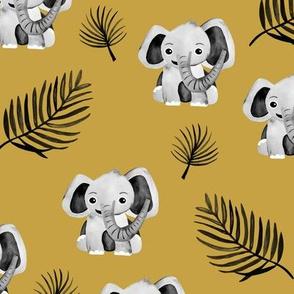 Little elephant friends adorable boho style kawaii nursery print dark fall yellow ochre