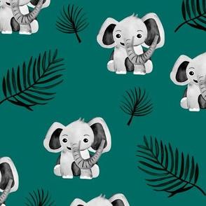 Little elephant friends adorable boho style kawaii nursery print dark winter green black