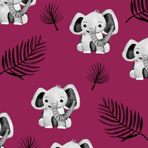 Little elephant friends adorable boho style kawaii nursery print fall winter maroon red