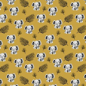 Little elephant friends adorable boho style kawaii nursery print dark fall yellow ochre SMALL